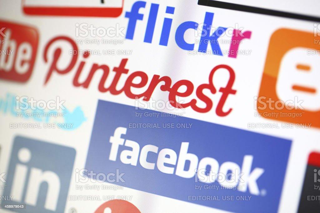 Social media logos on a computer screen royalty-free stock photo
