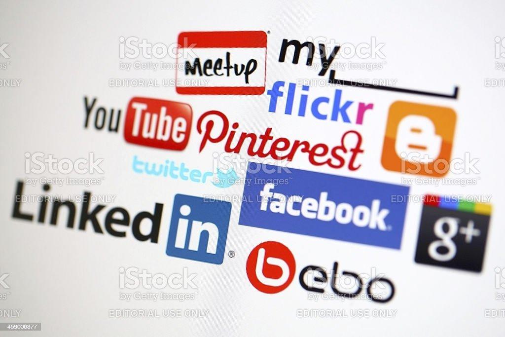 Social media logos on a computer screen stock photo