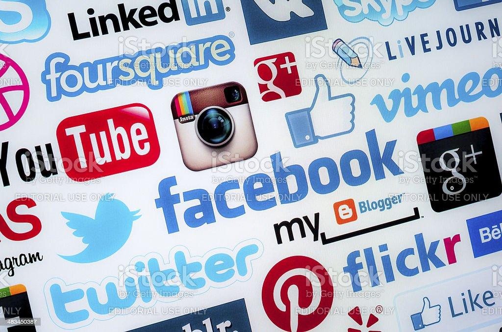Social media logos stock photo