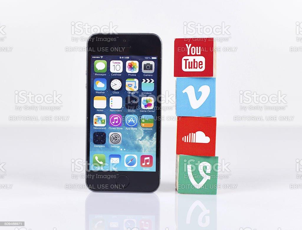 Social Media Logos with iPhone5 stock photo