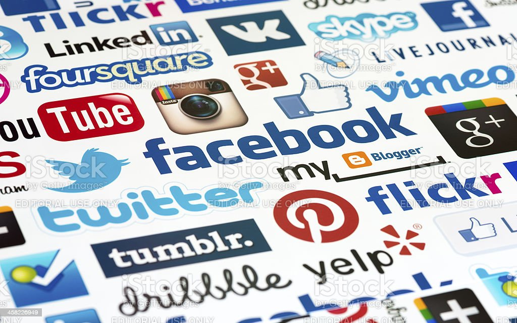 Social Media Logotype Background stock photo