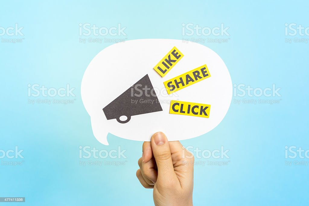 Social media messages: 'LIKE' 'SHARE' 'CLICK' on speech bubble. stock photo