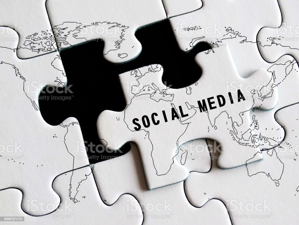 Social media missing puzzle concept. stock photo