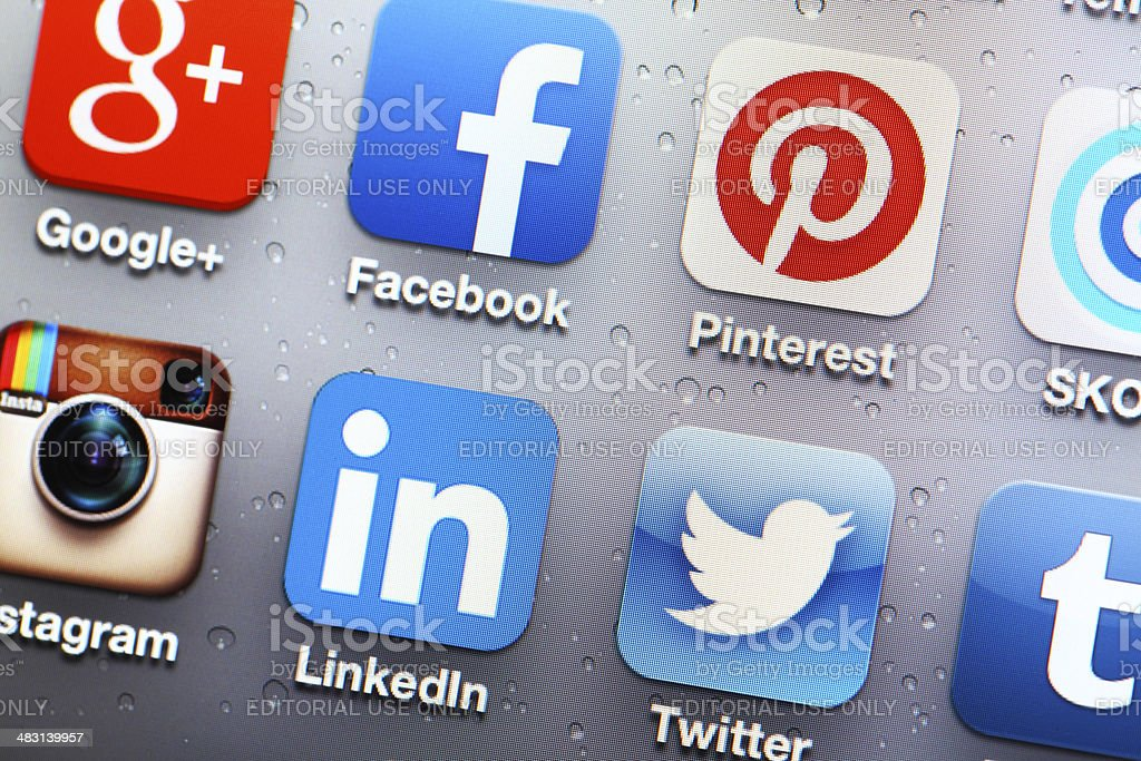 Social media mobile app on iphone 5 stock photo
