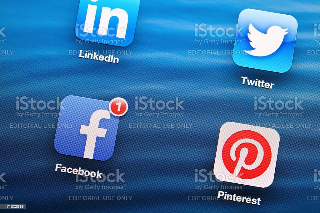 Social media mobile app on tablet stock photo