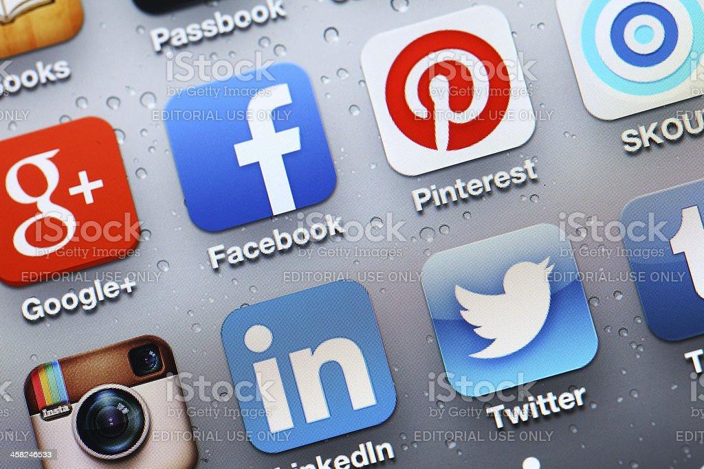 Social media mobile app stock photo