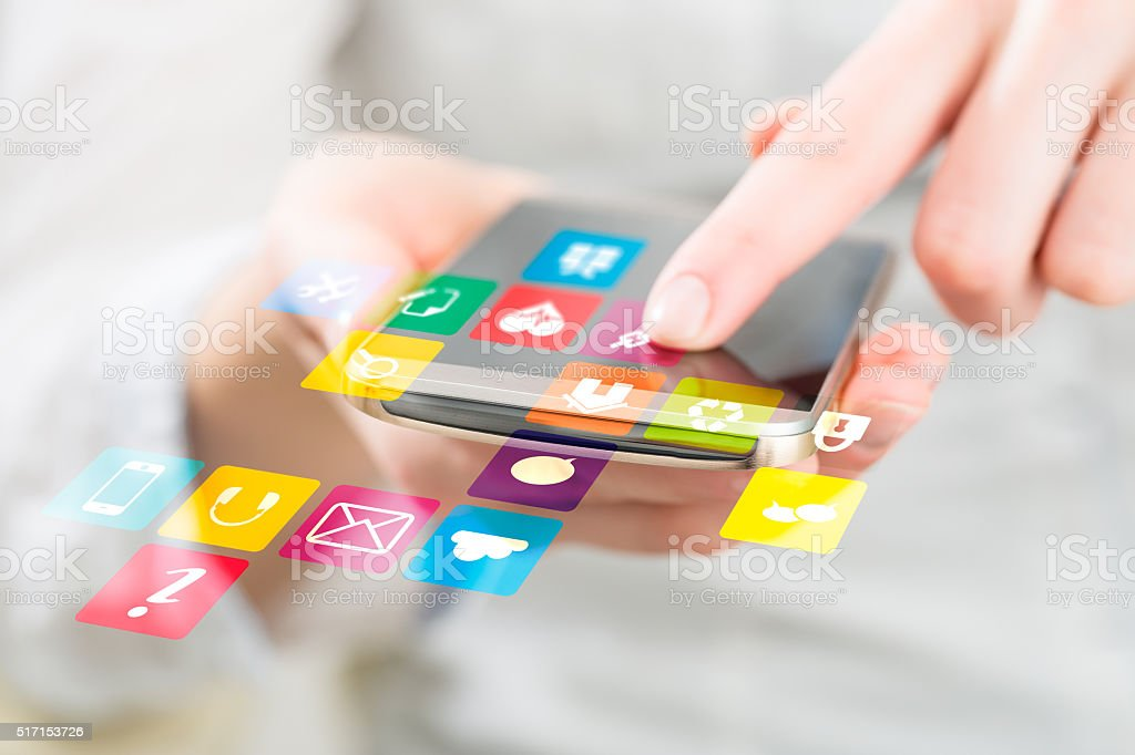 Social media network concept. stock photo