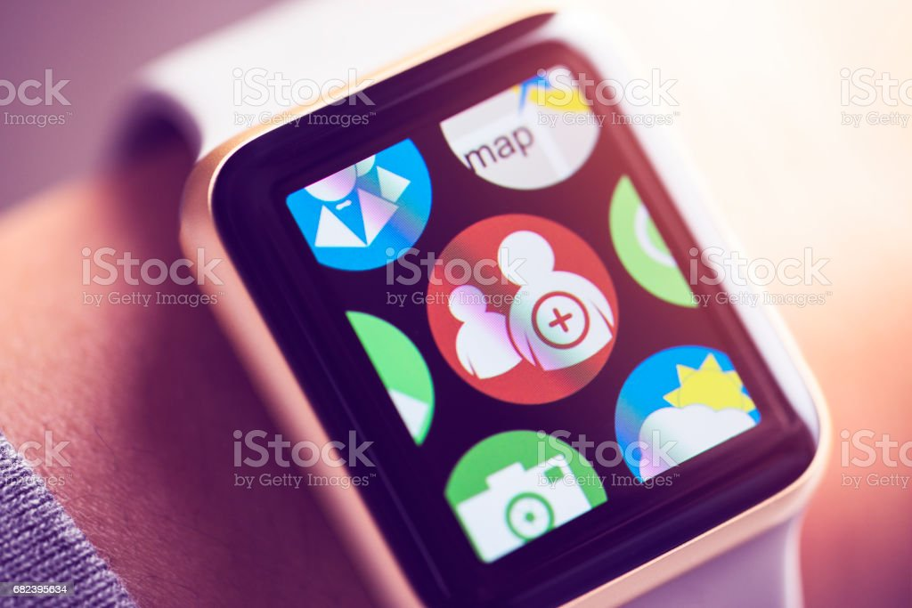 Social media networking app icon on smart watch screen. stock photo