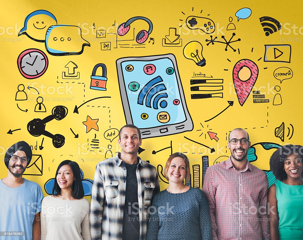 Social Media Networking Communication Connecting Concept stock photo