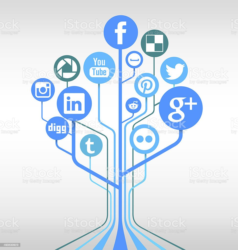 Social media networks tree stock photo