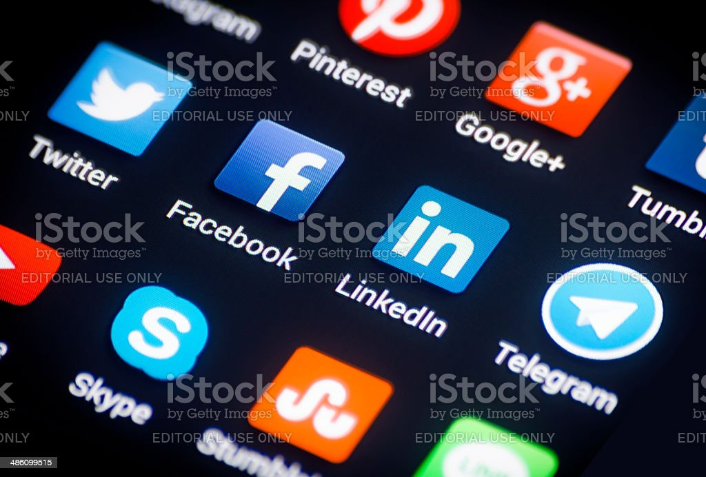 Social media on Android phone stock photo