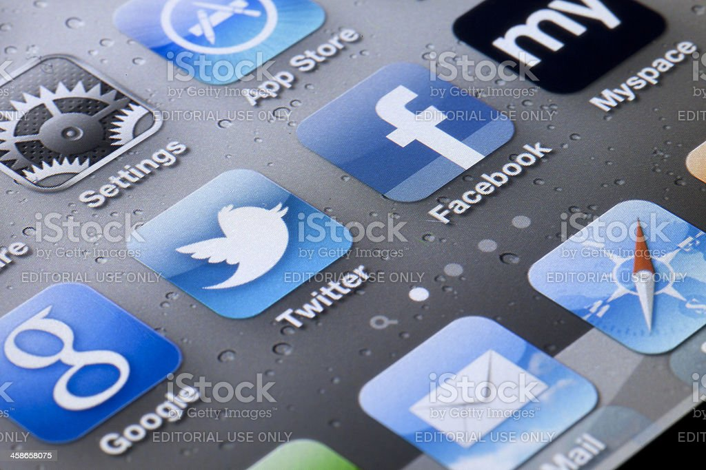 Social Media on Apple iPhone 4 Apps royalty-free stock photo
