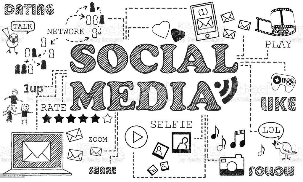Social Media on white Background stock photo