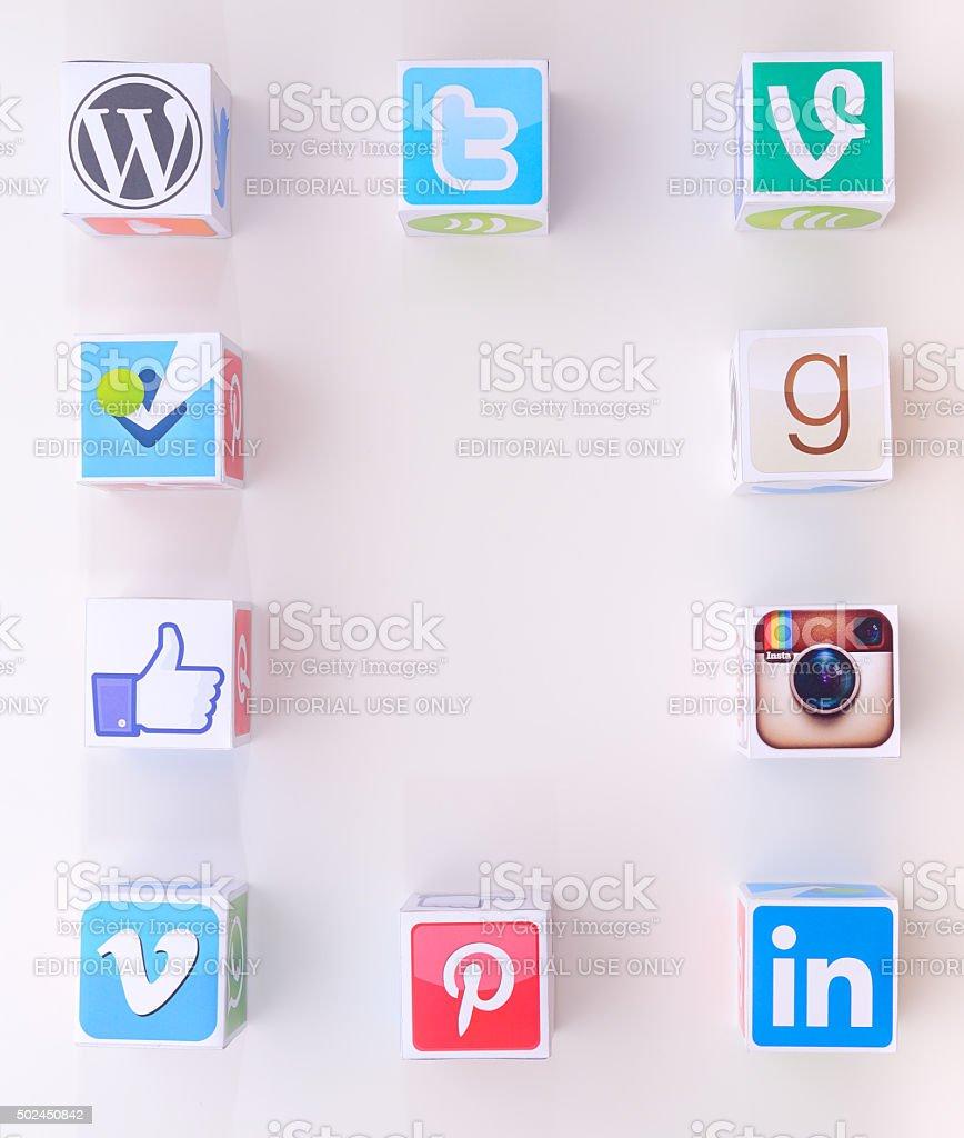 Social media paper cubes stock photo