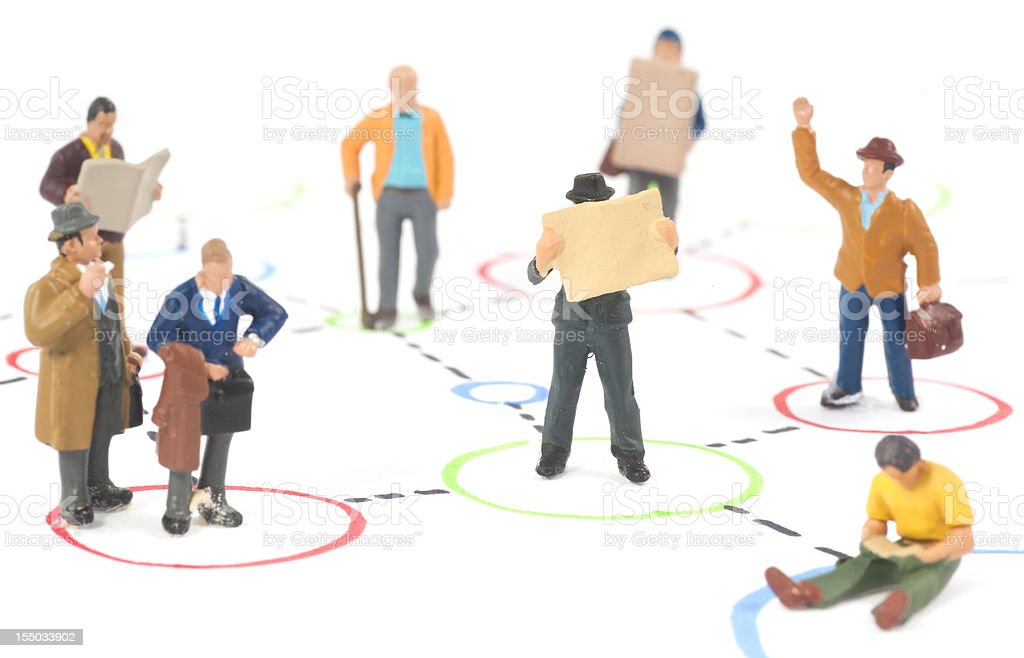 Social Media people standing in circles royalty-free stock vector art