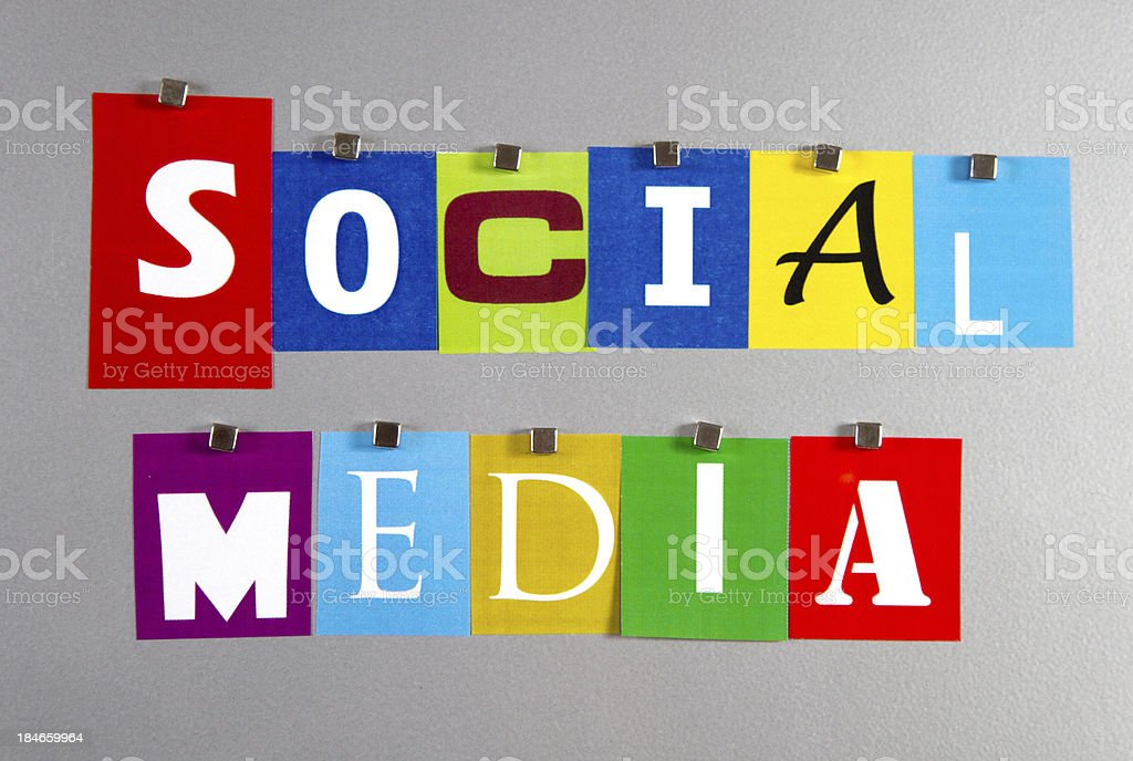 Social Media pinned on a silver metal pin board royalty-free stock photo
