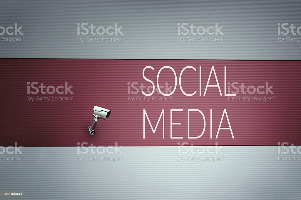 Social media print on wall stock photo
