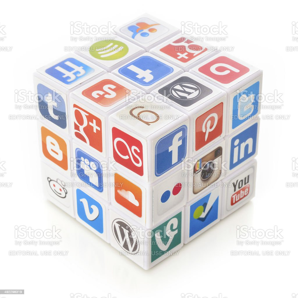 Social media puzzle royalty-free stock photo