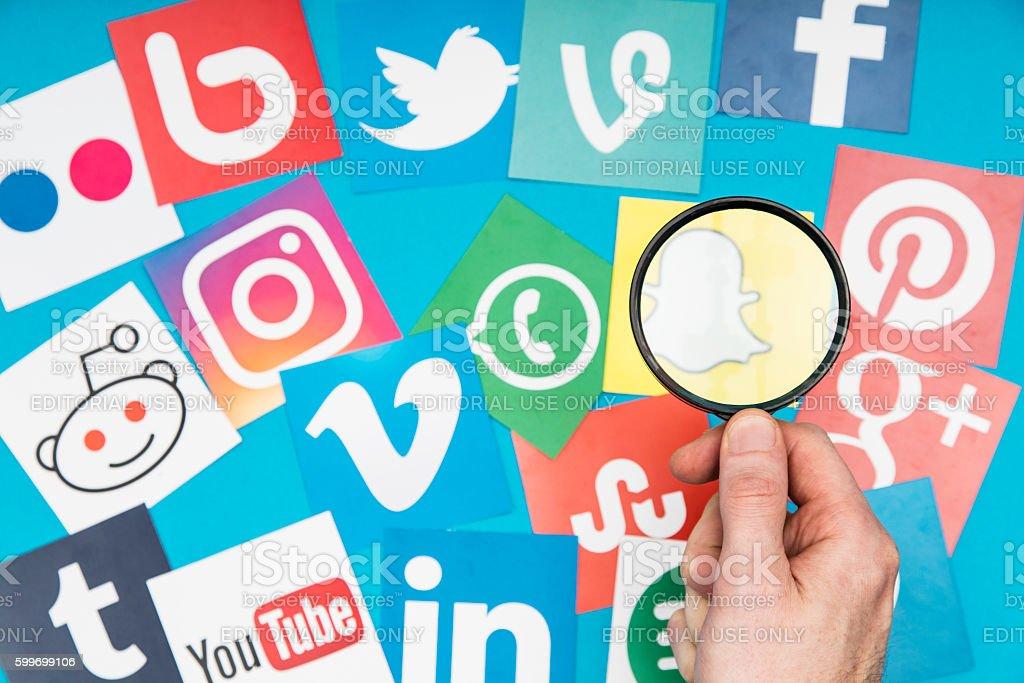Social media search stock photo