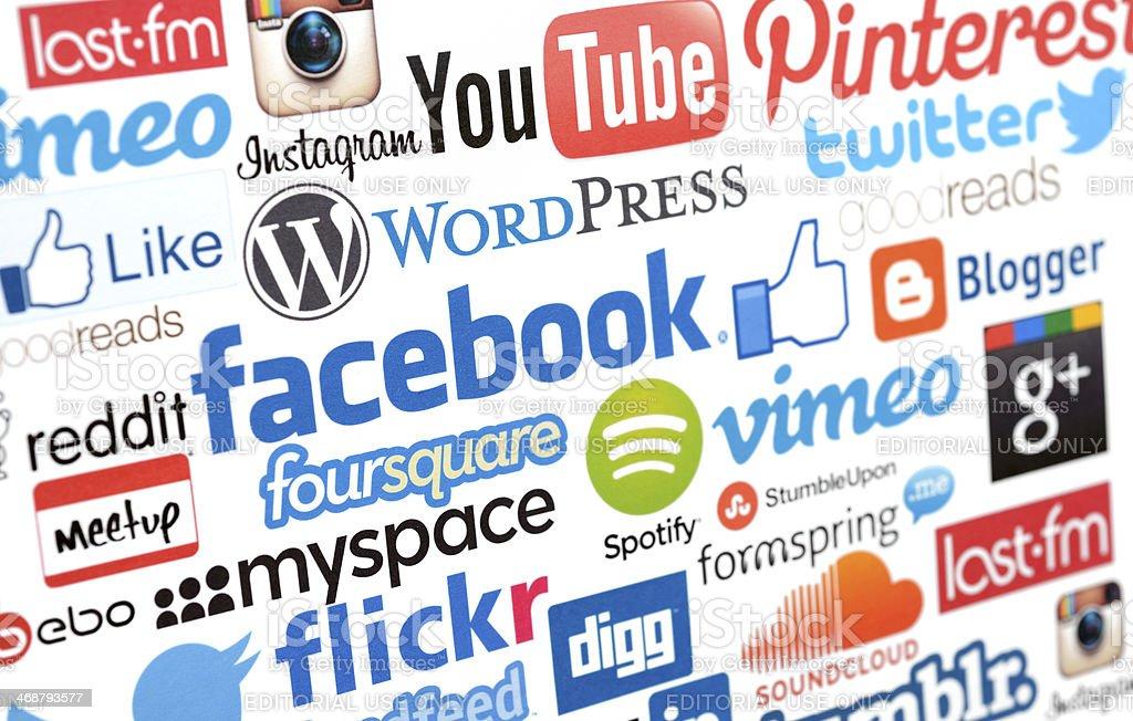 Social media services logos stock photo