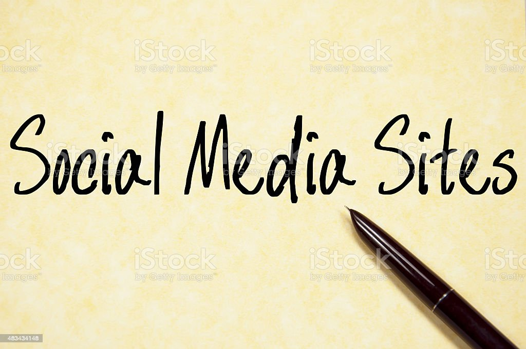 social media sites text write on paper stock photo