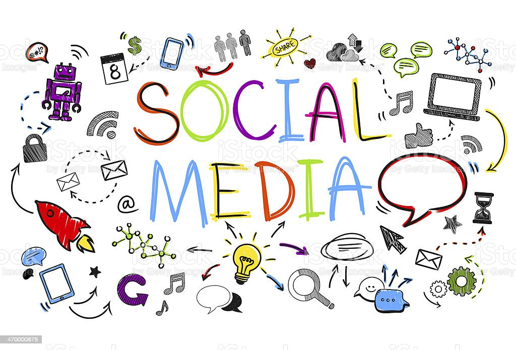 Social Media Sketch on White Background stock photo