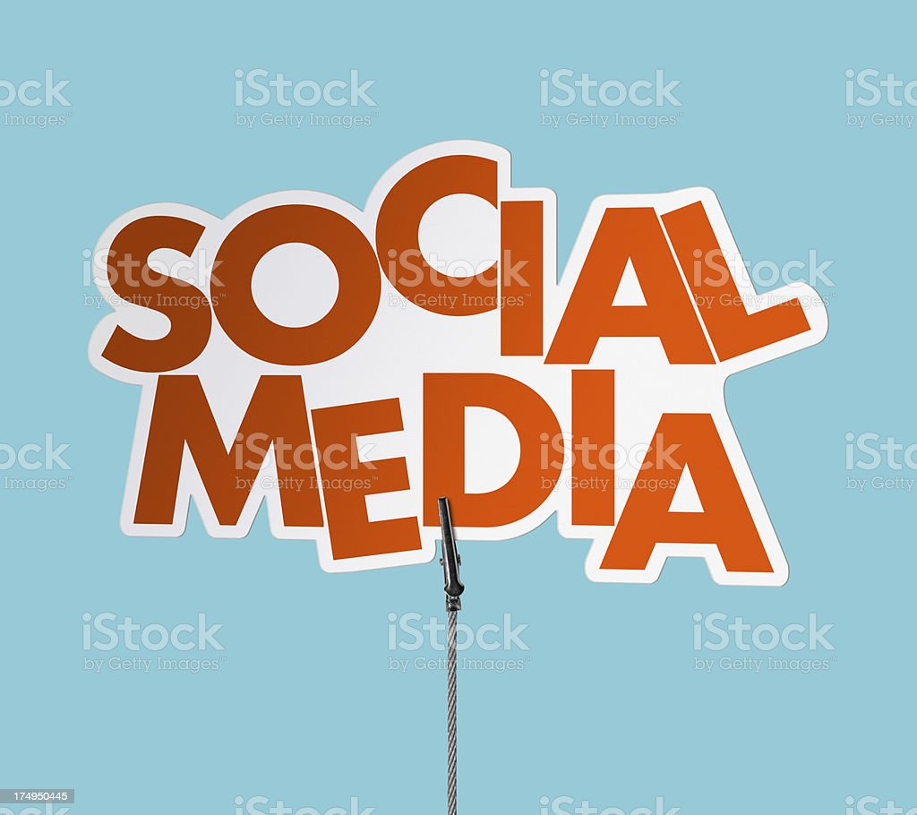 Social Media Speech Bubble in Wire Clam (Clipping Path) royalty-free stock photo