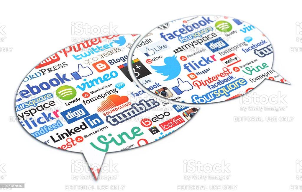 Social media speech bubbles stock photo