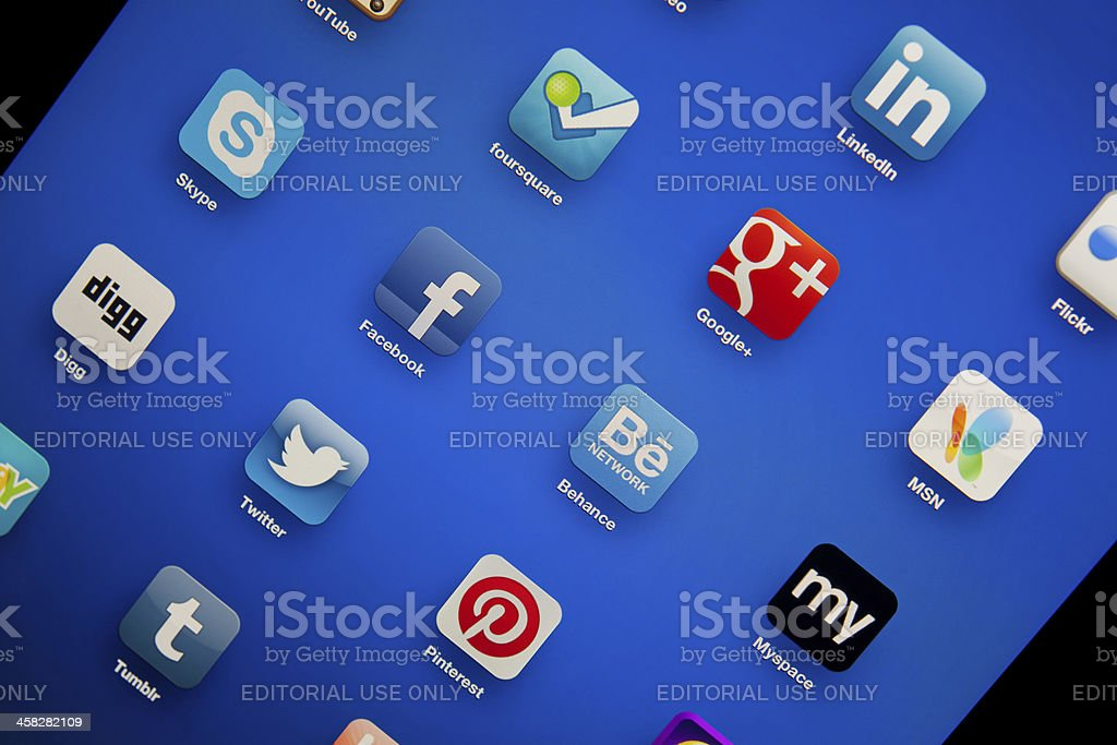 social media symbols on ipad stock photo
