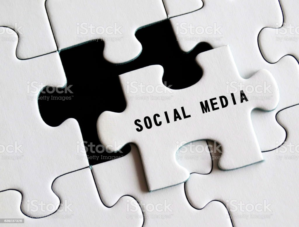 Social media text on missing puzzle stock photo