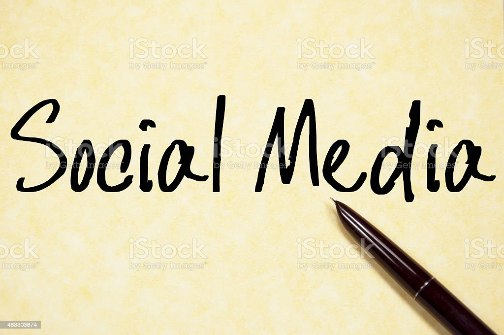 social media text write on paper stock photo