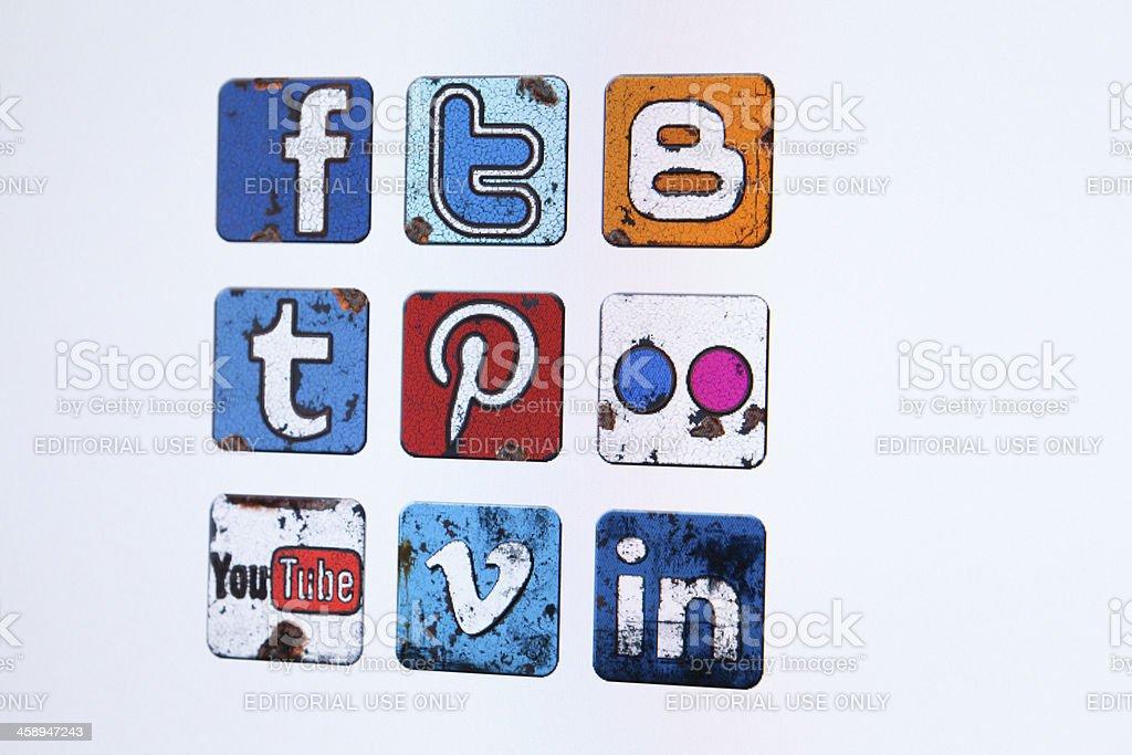 Social media vintage icons stock photo