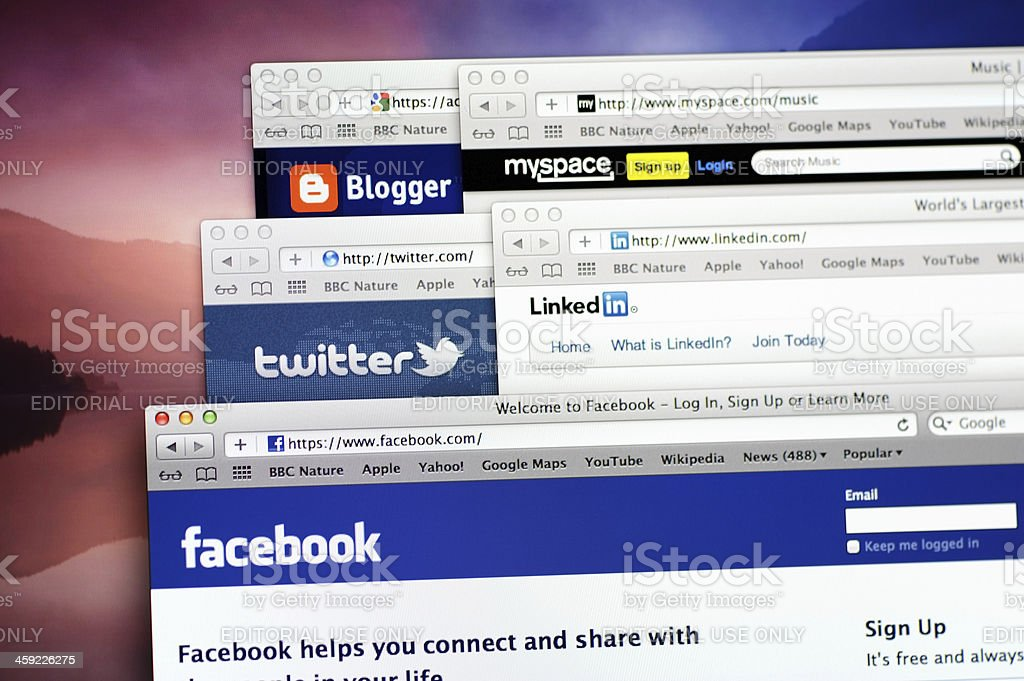 Social media web sites on computer screen royalty-free stock photo