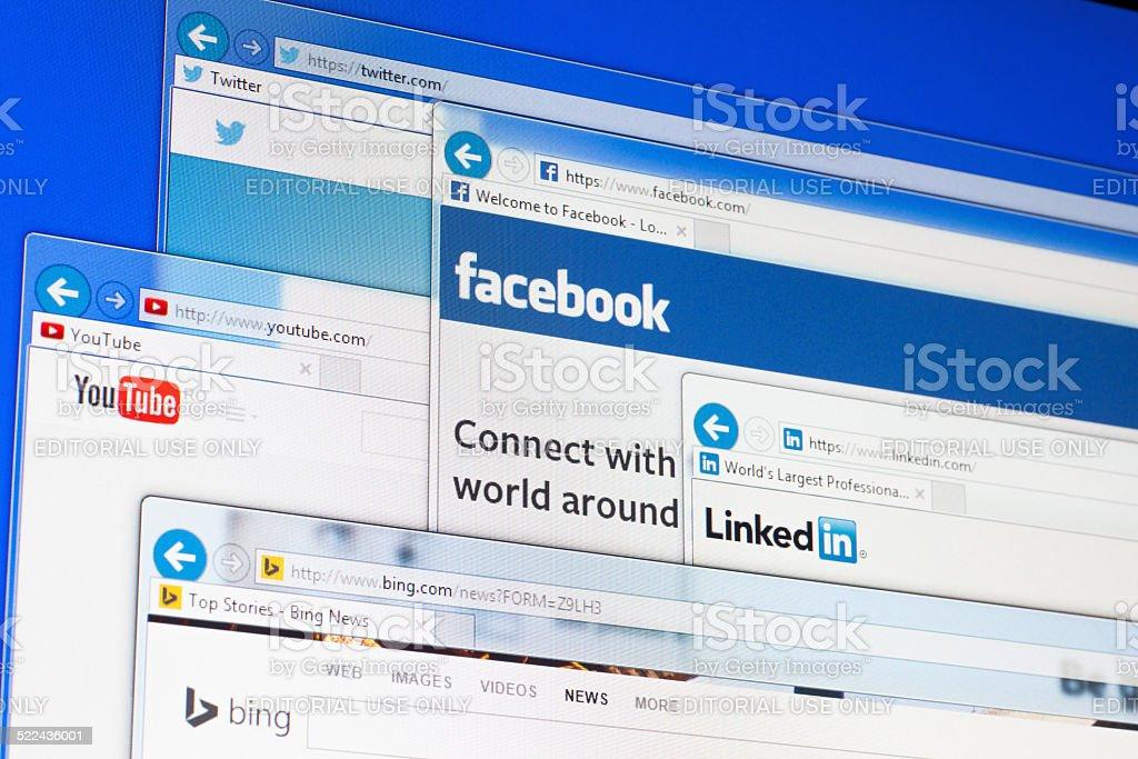 Social media web sites stock photo