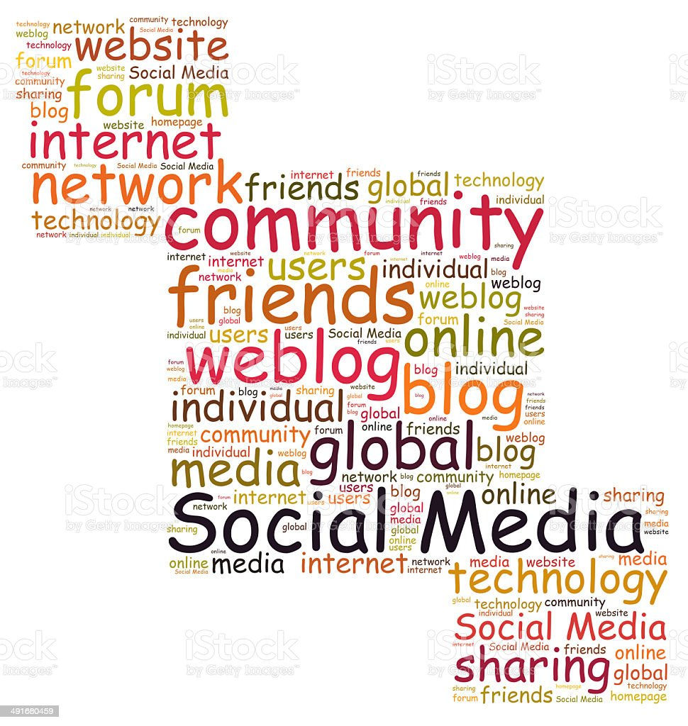 Social Media word cloud royalty-free stock photo