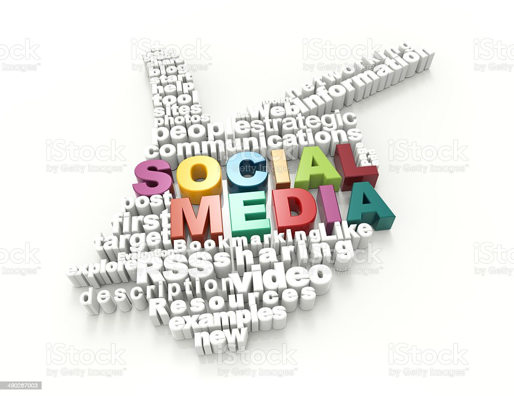 Social Media word-3d hand stock photo