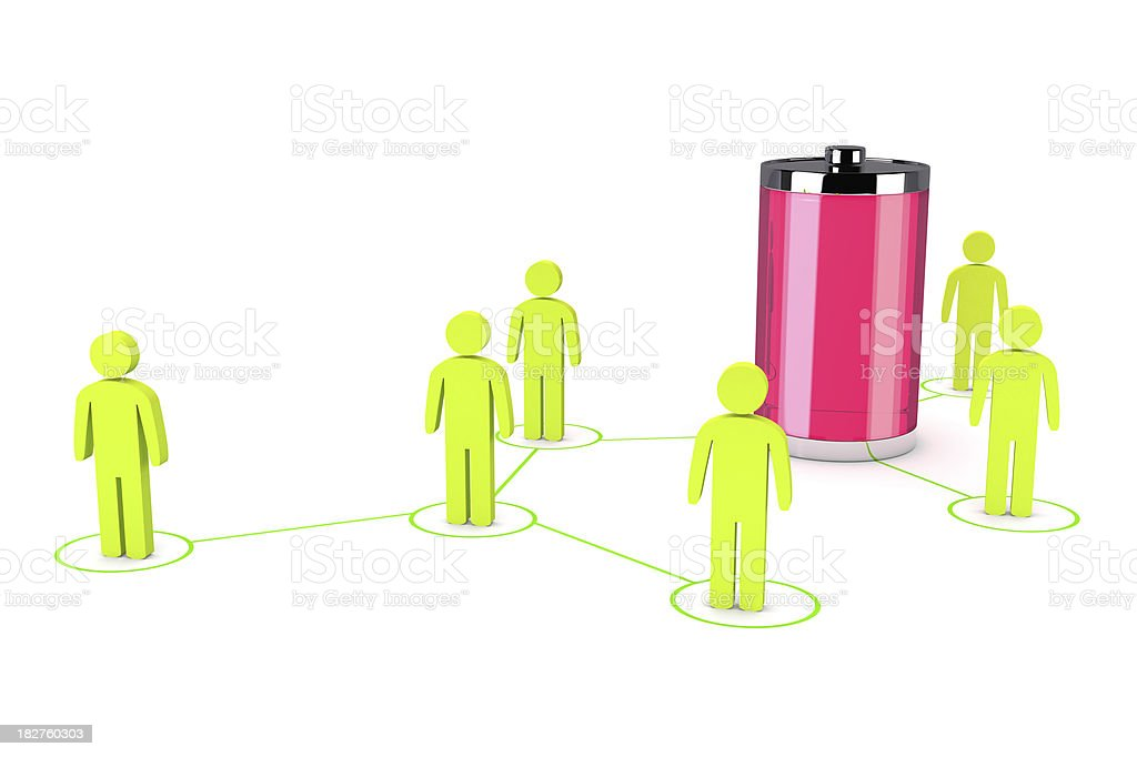 Social Network and Battery royalty-free stock photo