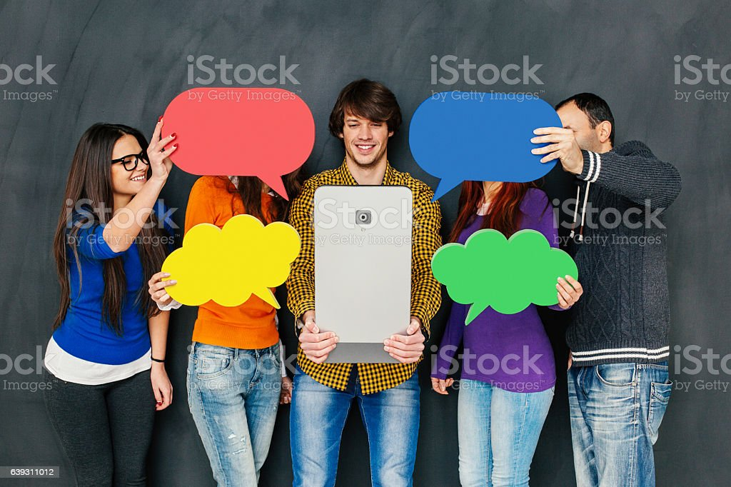 Social network and communication concept stock photo