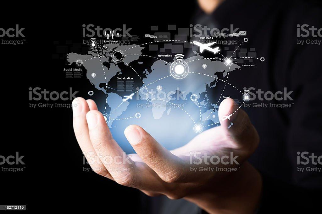 Social network and Modern communication technology stock photo