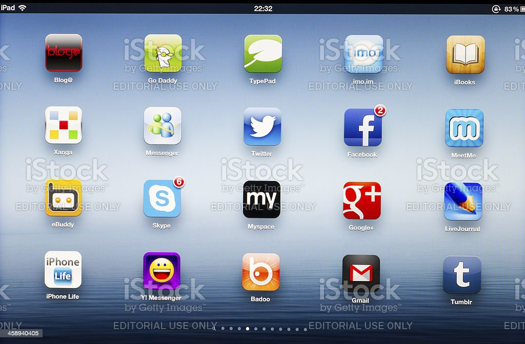 Social network App icons on New iPad stock photo