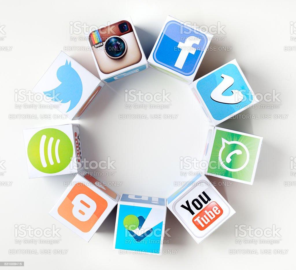 Social network circle stock photo