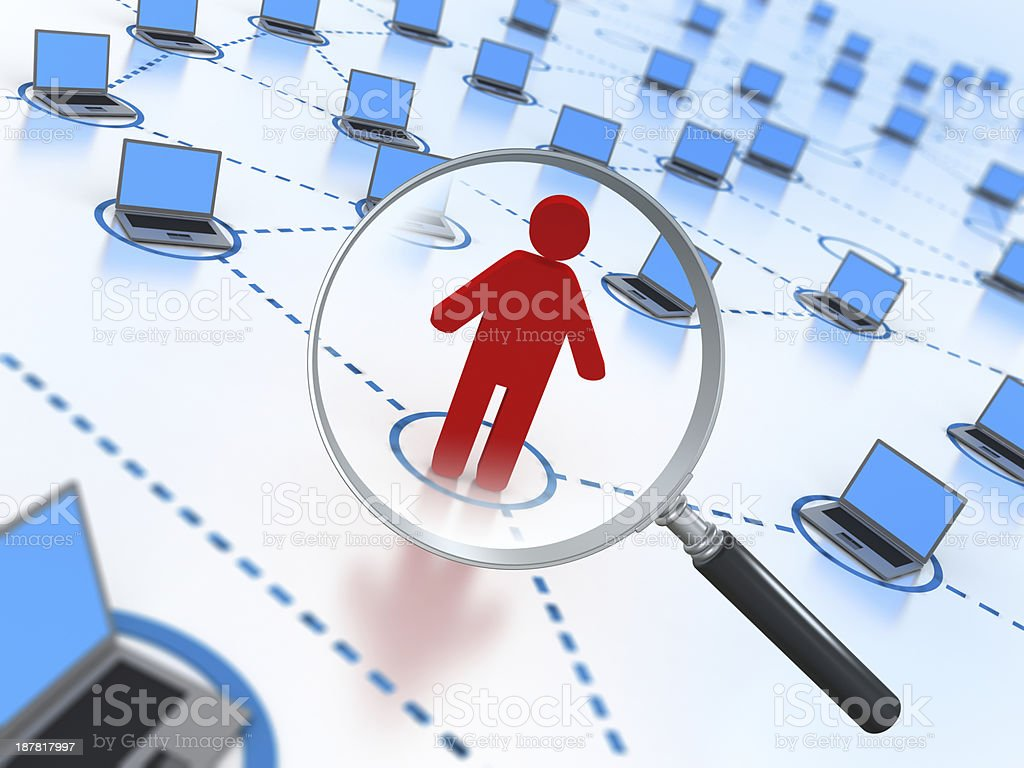 Social Network concept - individual in magnifying glass stock photo