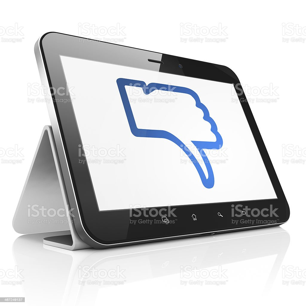 Social network concept: Thumb Down on tablet pc computer royalty-free stock photo