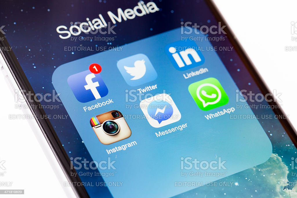 Social Network, facebook, twitter, linkedln, instagram, messenger, whatsapp stock photo