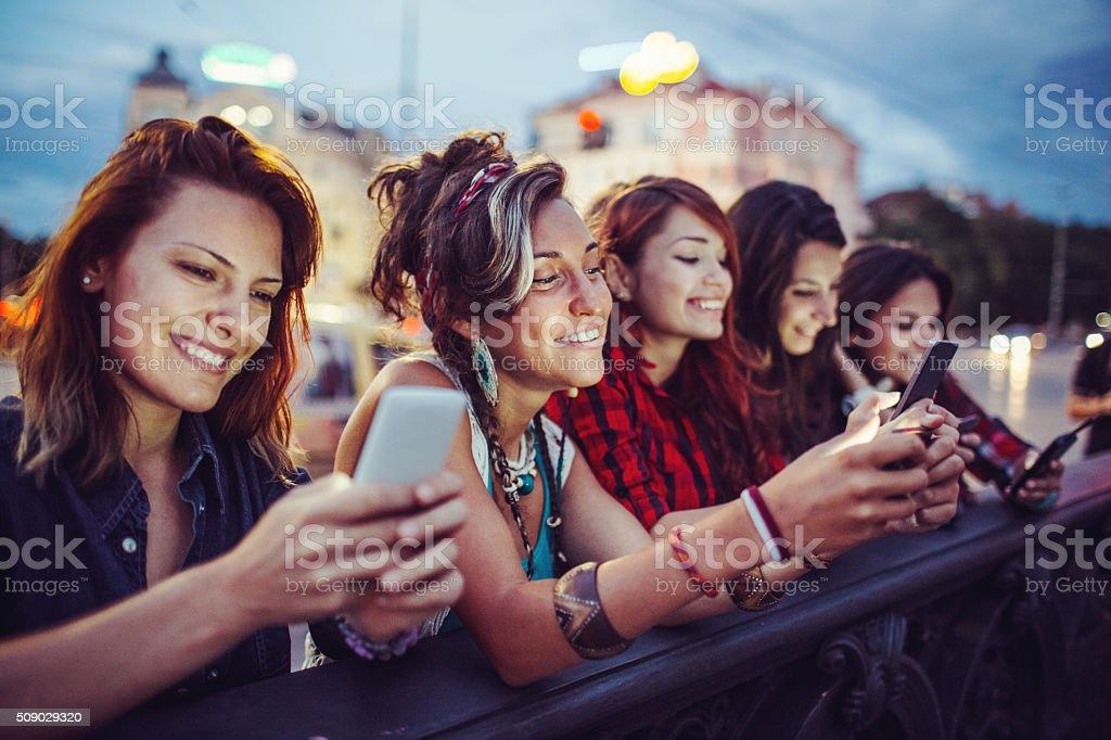 Social network girls stock photo