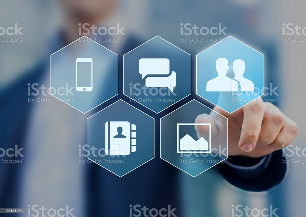 Social network icons on virtual screen buttons stock photo