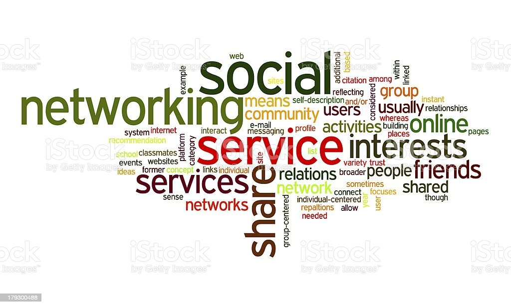 Social network in tag cloud royalty-free stock vector art