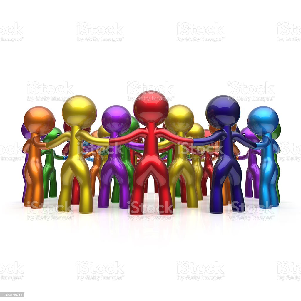 Social network large circle characters group people team stock photo