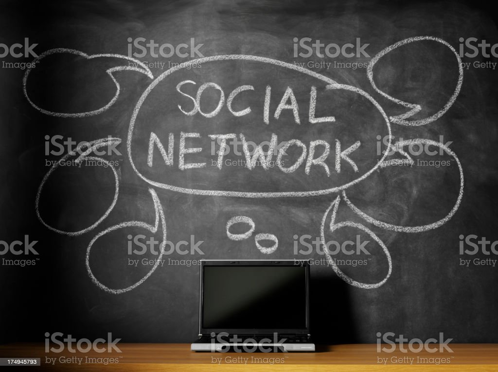 Social Network on the Blackboard with a Laptop Computer royalty-free stock photo