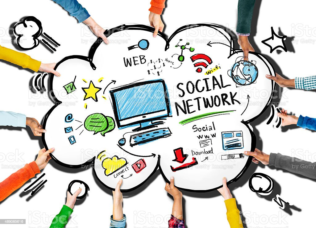 Social Network Social Media People Meeting Teamwork Concept stock photo